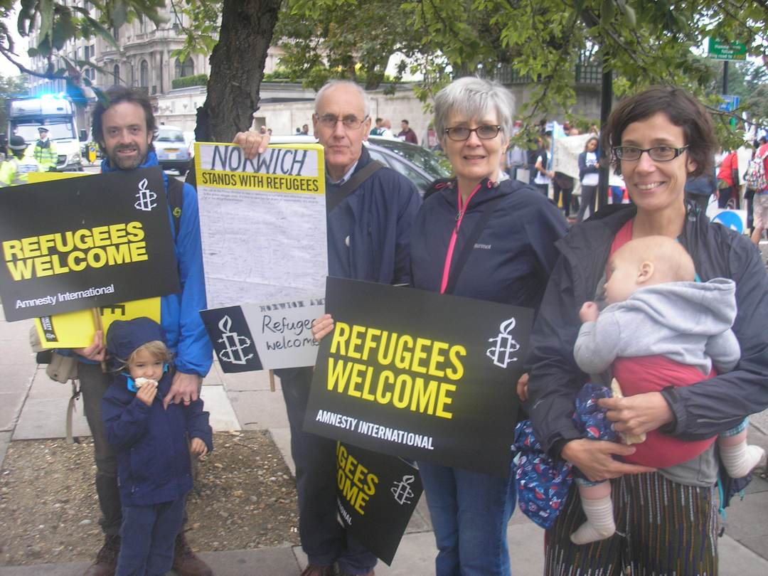 Norwich Amnesty at the Refugees Welcome March