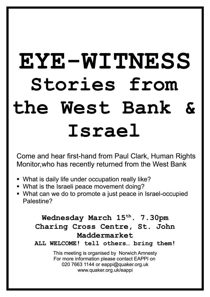 Israel eye witness talk