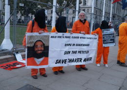 David Bissonet demonstrating in Parliament Square campaigning for the release of Shaker Aamer